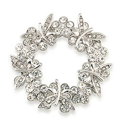 Carolee® Butterfly Blooms Wreath Pin