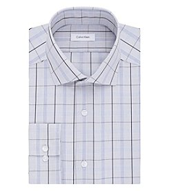Calvin Klein Men's Blue Plaid Long Sleeve Dress Shirt