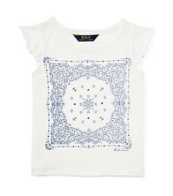 Polo Ralph Lauren Girls' 2T-6X Flutter Sleeve Bandana Graphic Tee