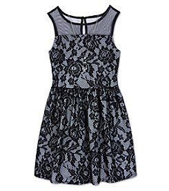Amy Byer Girls' 7-16 Illusion Neckline Lace Fit And Flare Dress With Necklace