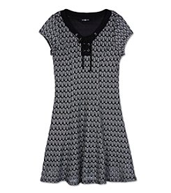 Amy Byer Girls' 7-16 Lace Up Neckline Fit And Flare Dress