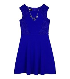 Amy Byer Girls' 7-16 Lace Accent Fit And Flare Dress With Necklace