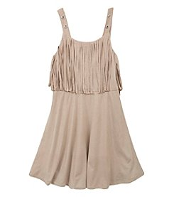 Rare Editions® Girls' 7-16 Fringe Faux Suede Swing Dress