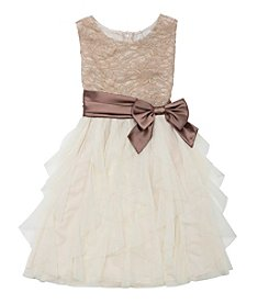 Rare Editions® Girls' 7-16 Glitter Lace Cascade Dress