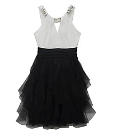 Tween Diva by Rare Editions Girls' 7-16 Embellished Neckline Ruffle Dress