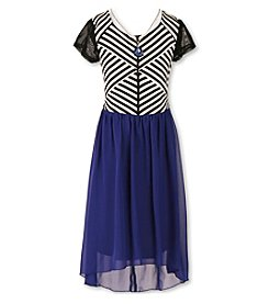 Speechless® Girls' 7-16 Chevron High-Low Dress With Necklace