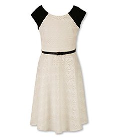 Speechless® Girls' 7-16 Belted Lace Fit And Flare Dress