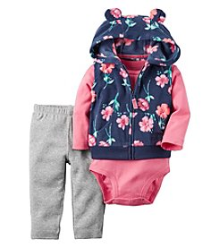 Carter's® Baby Girls' 3-Piece Floral Hooded Vest Set