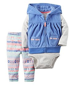 Carter's® Baby Girls' 3-Piece Geo Hooded Vest Set