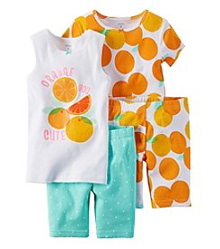 Carter's® Girls' 4-Piece Orange You Cute Pajama Set