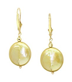 Effy® Freshwater Pearl Coin Earrings in 14k Yellow Gold