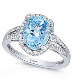 Effy® 0.24 ct. tw. Diamond and Aquamarine Ring in 14K White Gold
