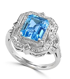 Effy® 0.42 ct. tw. Diamond and Aquamarine Ring in 14K White Gold