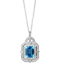 Effy® 0.33 ct. tw. Diamond and Aquamarine Pendant in 14K White Gold