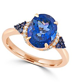 Effy® Ocean Bleu Collection 0.08 ct. tw. Diamond and London Blue Topaz Ring in 14K Rose Gold