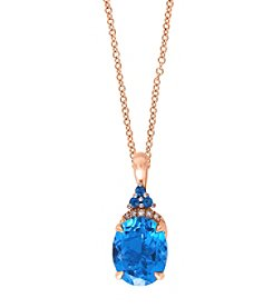 Effy® Ocean Bleu Collection 0.02 ct. tw. Diamond and London Blue Pendant in 14K Rose Gold