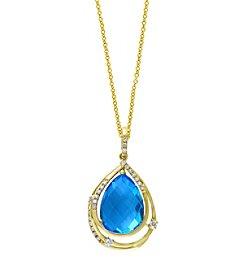 Effy® 0.15 ct. tw. Diamond and Blue Topaz Pendant in 14K Yellow Gold
