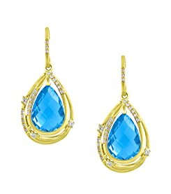 Effy® 0.2 ct. tw. Diamond and Blue Topaz Drop Earrings in 14K Yellow Gold