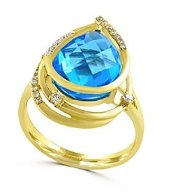 Effy® 0.14 ct. tw. Diamond and Blue Topaz Ring in 14K Yellow Gold