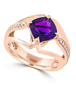 Effy® Viola Collection 0.07 ct. tw. Diamond and Amethyst Ring in 14K Rose Gold