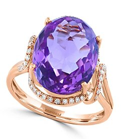 Effy® 0.18 ct. tw. Diamond and Amethyst Ring in 14K Rose Gold
