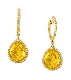 Effy® 0.29 ct. tw. Diamond and Citrine Drop Earrings in 14K Yellow Gold