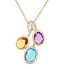 Effy® Mosaic Collection 0.06 ct. tw. Diamond and Multi Gem Pendant in 14K Rose Gold