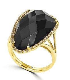 Effy® 0.20 ct. tw. Diamond and Onyx Ring in 14k Yellow Gold