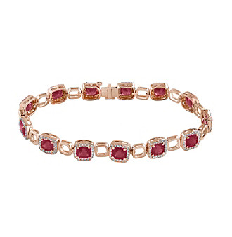 Effy® Ruby Royale Collection 1.27 ct. tw. Diamond and Ruby Tennis Bracelet in 14k Rose Gold