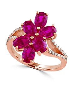 Effy® Ruby Royale Collection 0.14 ct. tw. Diamond and Ruby Flower Ring in 14k Rose Gold