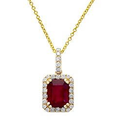 Effy® Ruby Royale Collection 0.23 ct. tw. Diamond and Ruby Pendant in 14k Yellow Gold