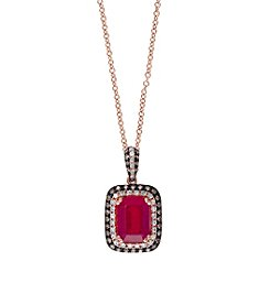 Effy® Ruby Royale Collection 0.31 ct. tw. Diamond and Ruby Pendant in 14k Rose Gold