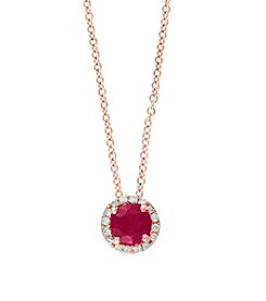 Effy® Ruby Royale Collection 0.07 ct. tw. Diamond and Ruby Pendant in 14k Rose Gold