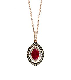 Effy® Ruby Royale Collection 0.33 ct. tw. Diamond and Ruby Pendant in 14k Rose Gold