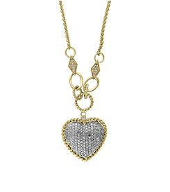Effy® D'Oro Collection .73 ct. tw. Diamond Heart Pendant in 14K White and Yellow Gold