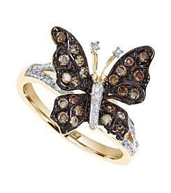 Effy® Espresso Collection 0.45 ct. tw. Diamond Butterfly Ring in 14K Yellow Gold