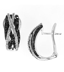 Effy® Caviar Collection 0.99 ct. tw. White and Black Diamond Earrings in 14K White Gold