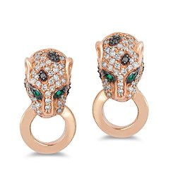 Effy® Signature Collection 0.60 ct. tw. Diamond and Emerald Earrings in 14K Rose Gold