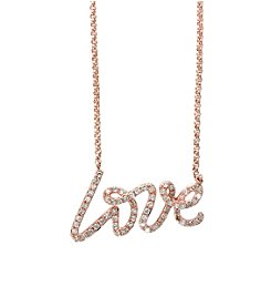 Effy® Pave Rose Collection 0.26 ct. tw. Diamond Love Necklace in 14k Rose Gold