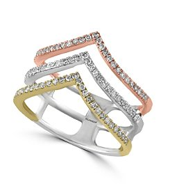 Effy® Trio Collection 0.40 ct. tw. Diamond Ring in 14K White, Yellow and Rose Gold