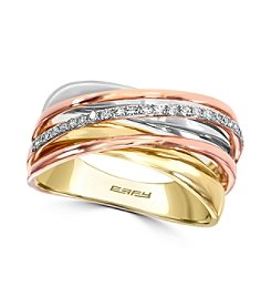 Effy® Trio Collection 0.11 ct. tw. Diamond Ring in 14K White, Yellow and Rose Gold