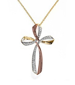 Effy® Trio Collection 0.17 ct. tw. Diamond Cross Pendant in 14k Yellow, White and Rose Gold