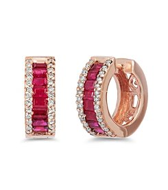Effy® Amore Collection 0.38 ct. tw. Diamond and Ruby Earrings in 14k Rose Gold