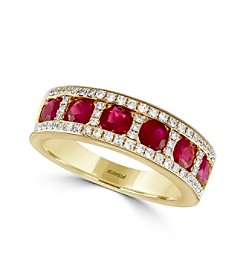 Effy® Amore Collection 0.24 ct. tw. Diamond and Ruby Ring in 14K Yellow Gold