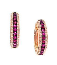 Effy® Amore Collection 0.24 ct. tw. Diamond and Ruby Earrings in 14K Rose Gold