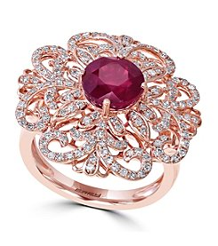 Effy® Ruby Royale Collection 0.59 ct. tw. Diamond and Ruby Ring in 14k Rose Gold