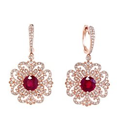 Effy® Ruby Royale Collection 0.89 ct. tw. Diamond and Ruby Earrings in 14k Rose Gold
