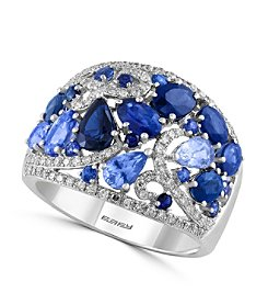 Effy® Royale Bleu Collection 0.33 ct. tw. Diamond and Sapphire Ring in 14K White Gold
