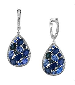 Effy® Royale Bleu Collection 0.39 ct. tw. Diamond and Sapphire Drop Earrings in 14K White Gold