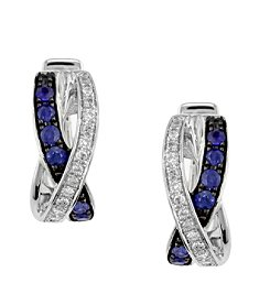 Effy® Royale Bleu Collection 0.11 ct. tw. Diamond and Sapphire Earrings in 14K White Gold